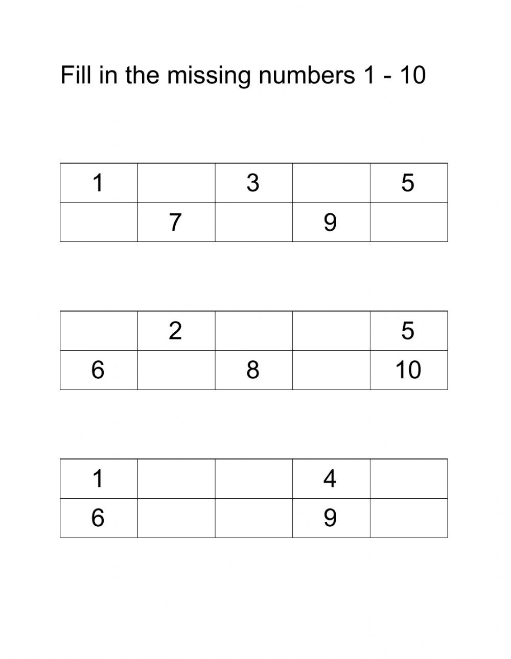 Fill in the missing numbers 1 10 vl um