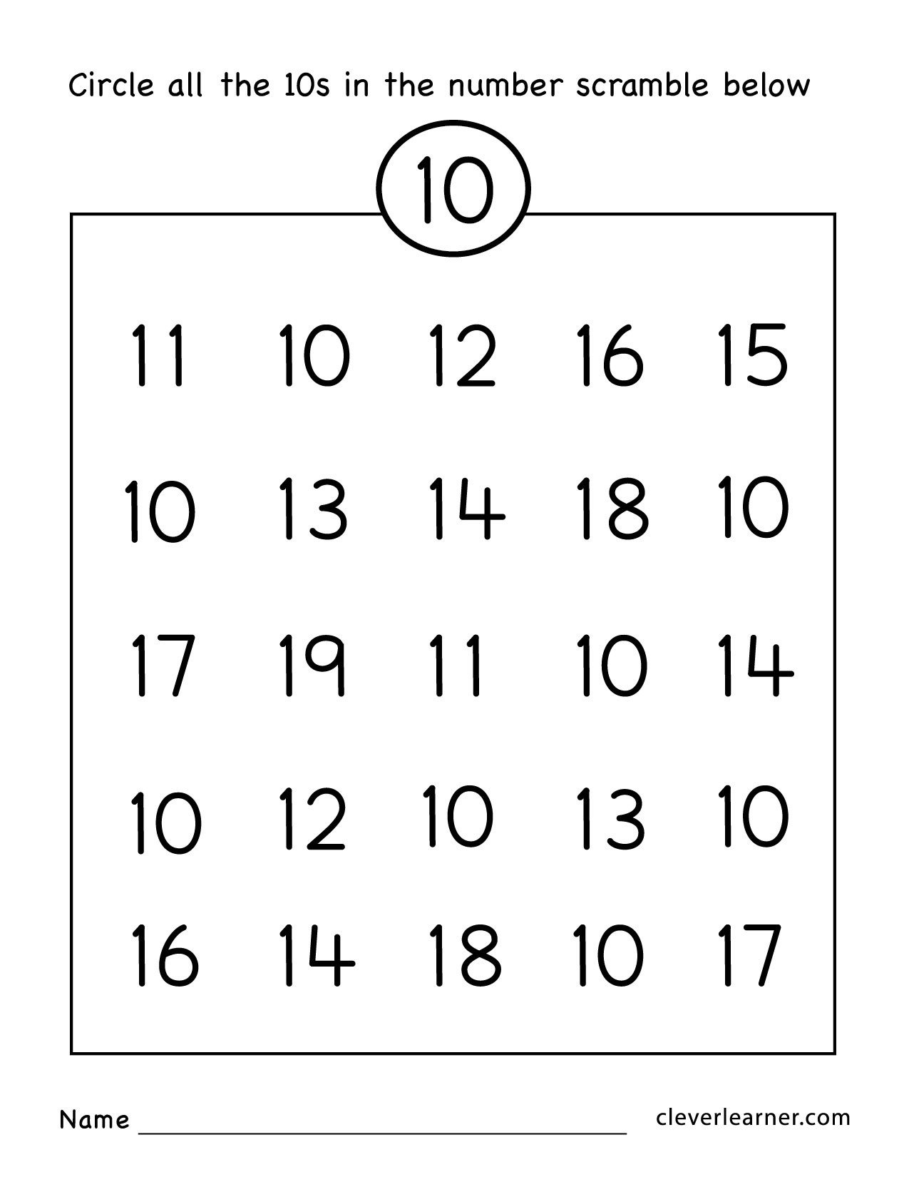 Number 10 20 Worksheets Number Ten Writing Counting and Identification Printable