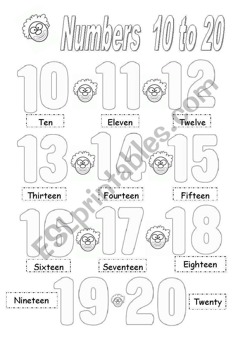 Number 10 20 Worksheets Numbers 10 to 20 Esl Worksheet by Brenes Cyn