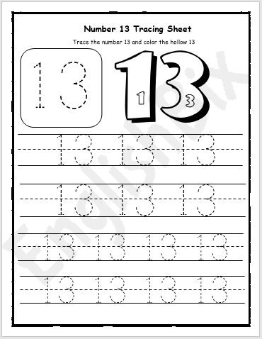number 13 tracing preschool worksheet