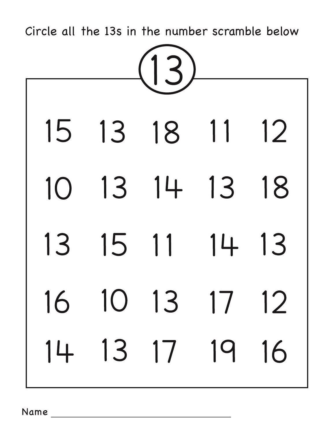 Number 13 Preschool Worksheet Number 13 Worksheet Circle