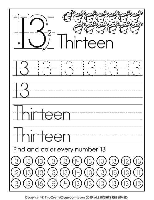 Number 13 Preschool Worksheet Preschool Number Worksheets Preschool Mom