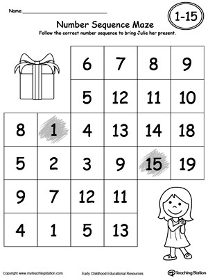 Practice Number Sequence With Number Maze Bring Julie a Present