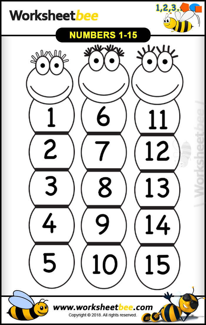 worm shape printable worksheet for kids from numbers 1 15
