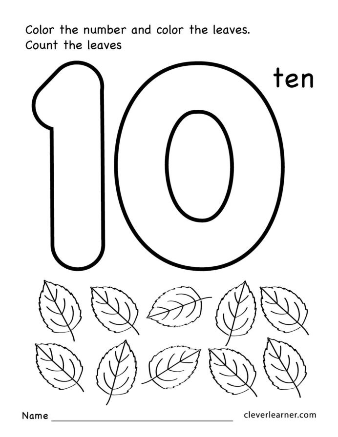 Number 18 Worksheets for Preschool Number Ten Writing Counting and Identification Printable