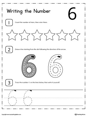 count and write number 6 worksheet