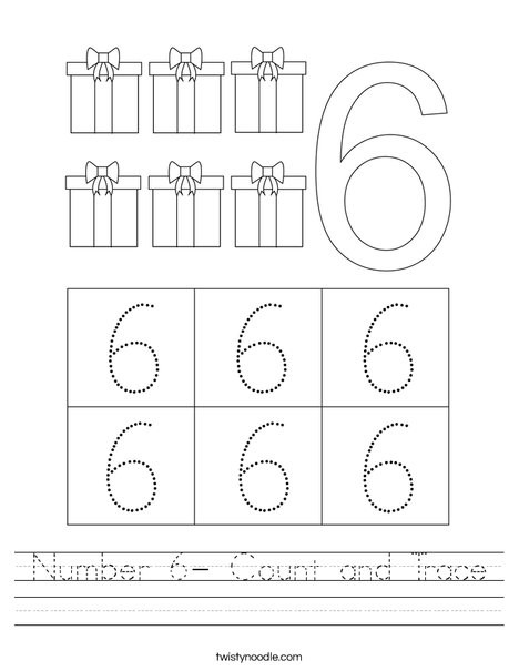 number 6 count and trace worksheet
