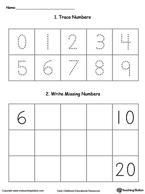 trace and write missing numbers 6 through 20