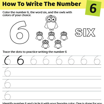 Trace The Number 6 Worksheet For Preschoolers