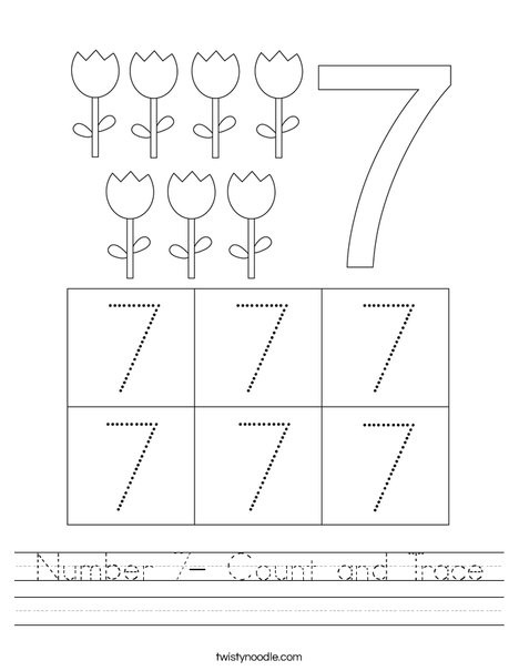 number 7 count and trace worksheet