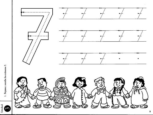 number 7 seven tracing and coloring worksheets