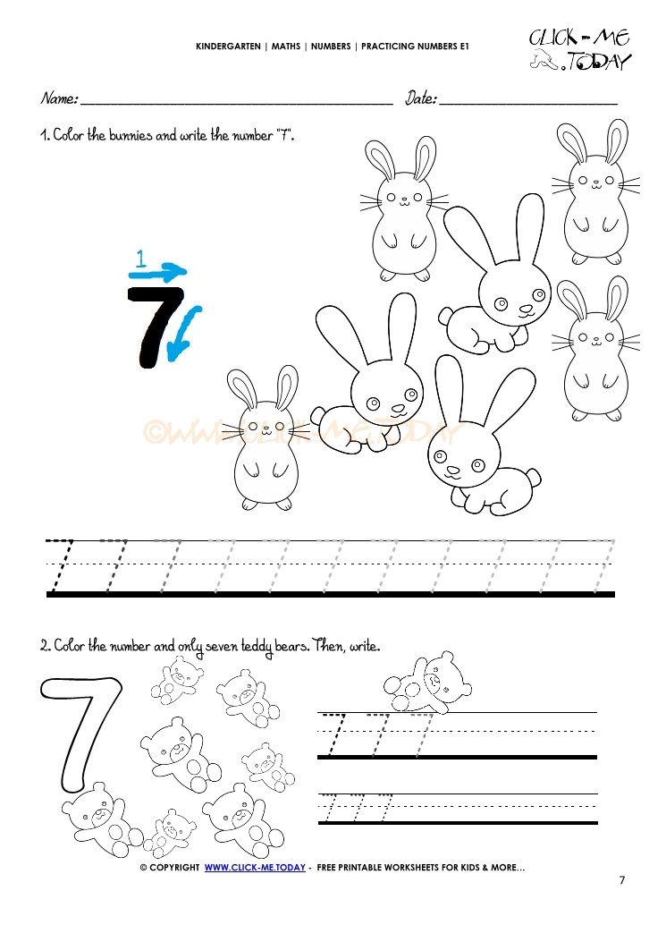 Number 7 Tracing Worksheets Tracing Numbers Worksheets Number 7