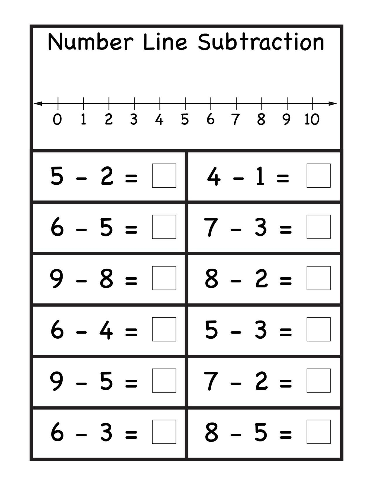 Number Line Subtraction Worksheet Subtraction Archives Page 2 Of 4
