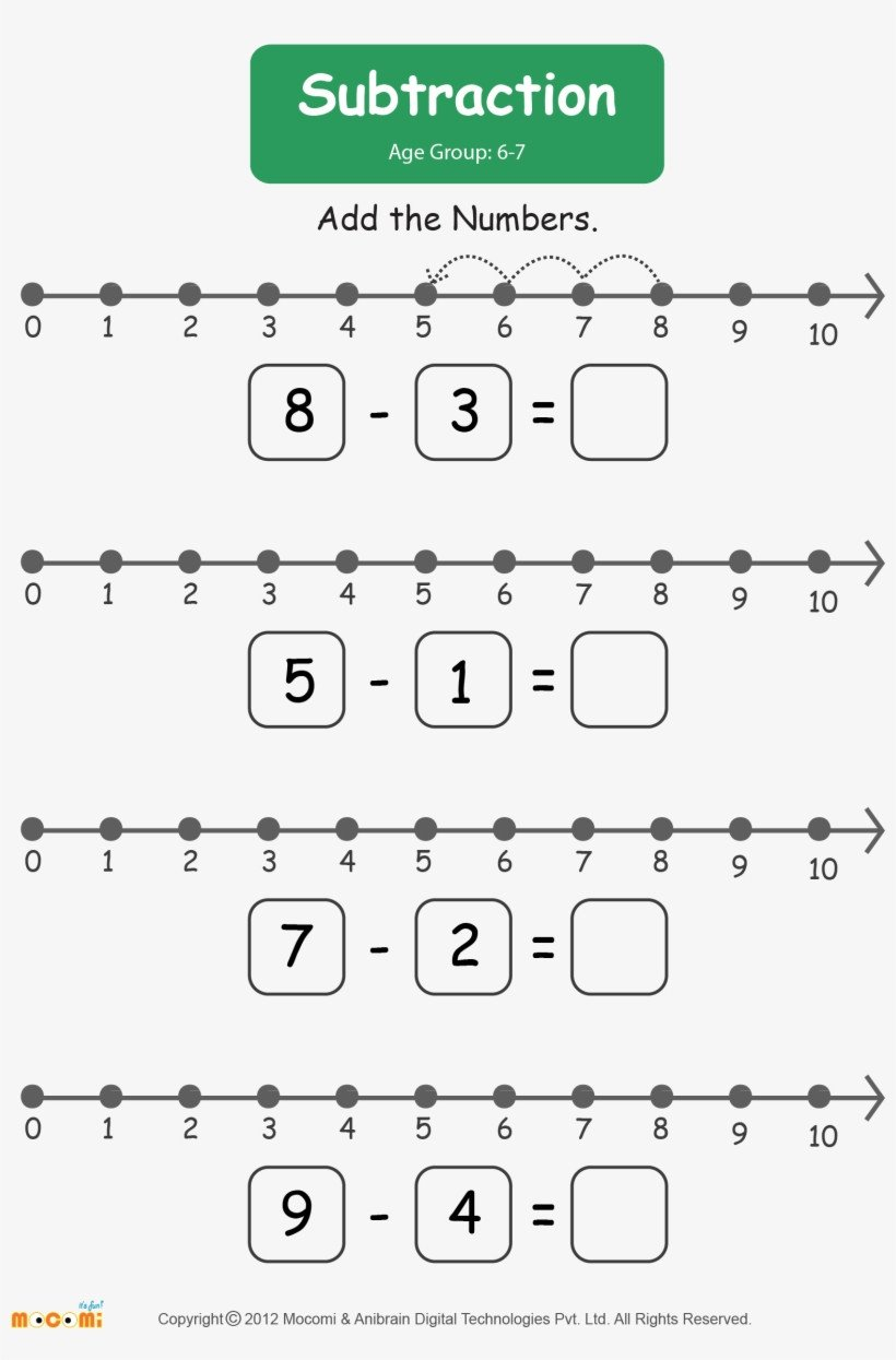Number Line Subtraction Worksheet Subtraction Worksheet for Kids Worksheets Learn More