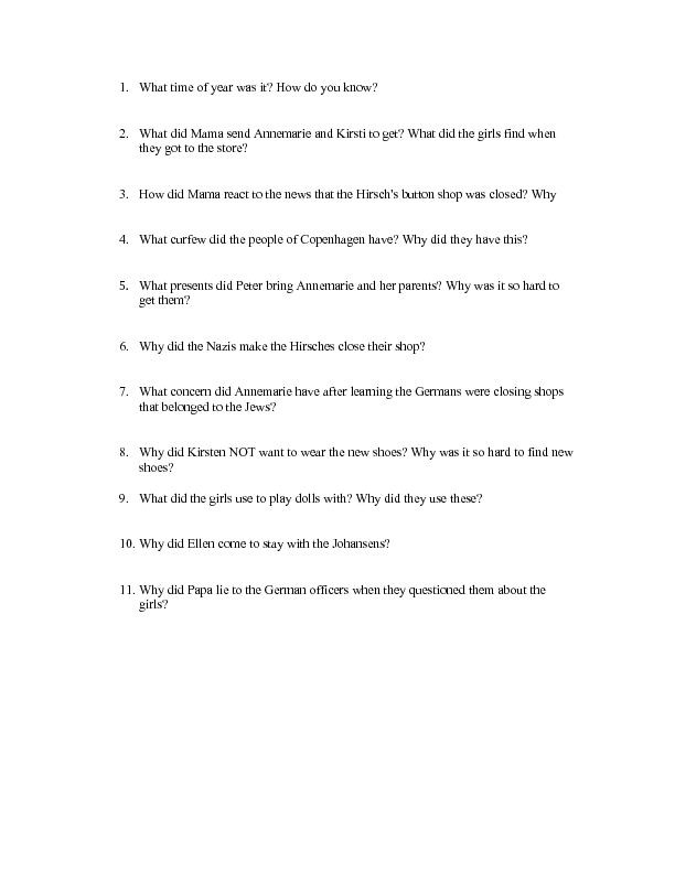"Number the Stars Worksheet Number the Stars"" Chapters 3 and 4 4th 6th Grade Worksheet"