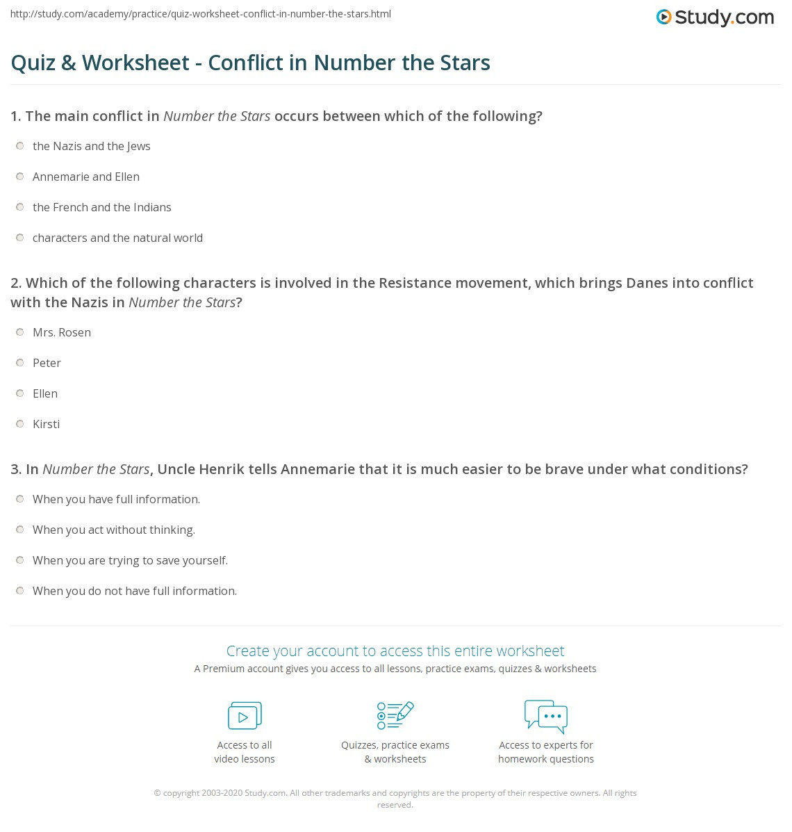 quiz worksheet conflict in number the stars