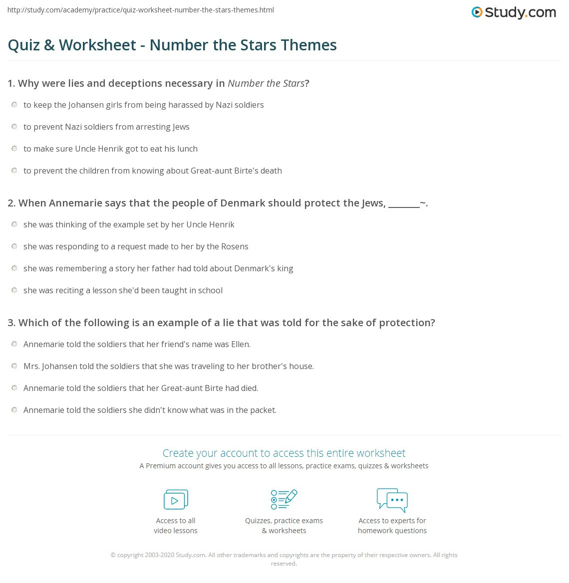 quiz worksheet number the stars themes