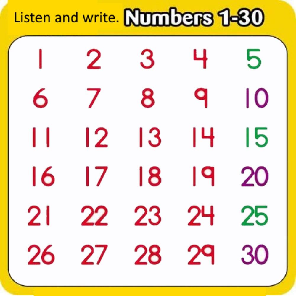 Numbers 1 30 Worksheets Numbers 1 30 Interactive Worksheet