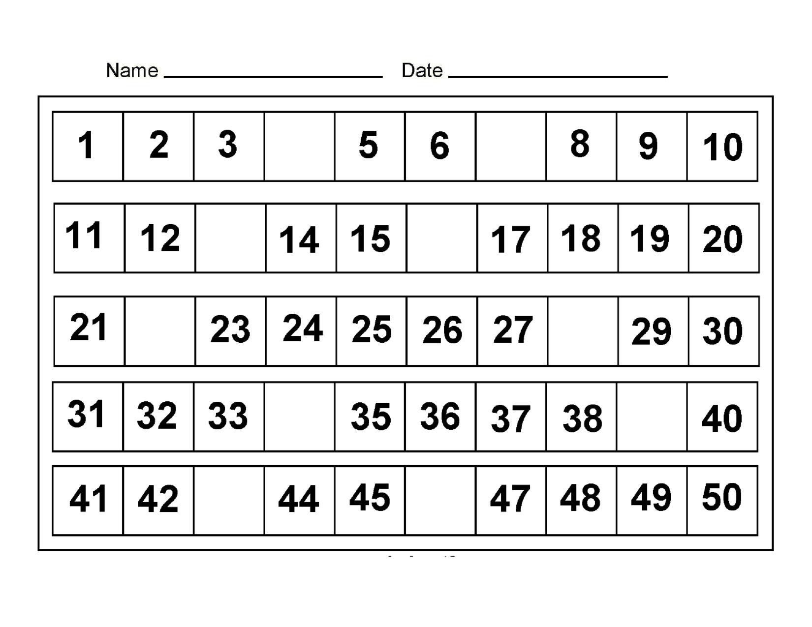 counting worksheets 25 to 50