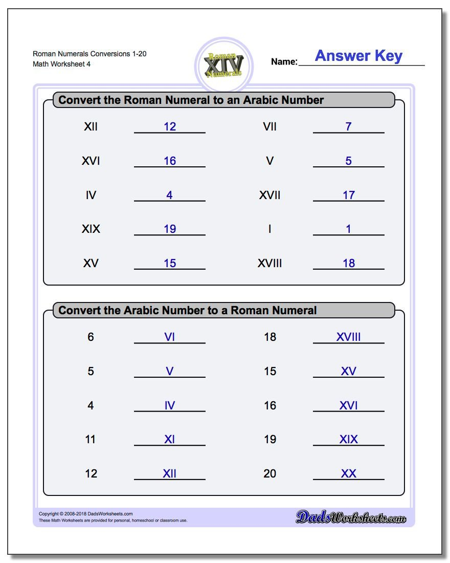 Numbers 1 50 Worksheets Roman Numeral Worksheets