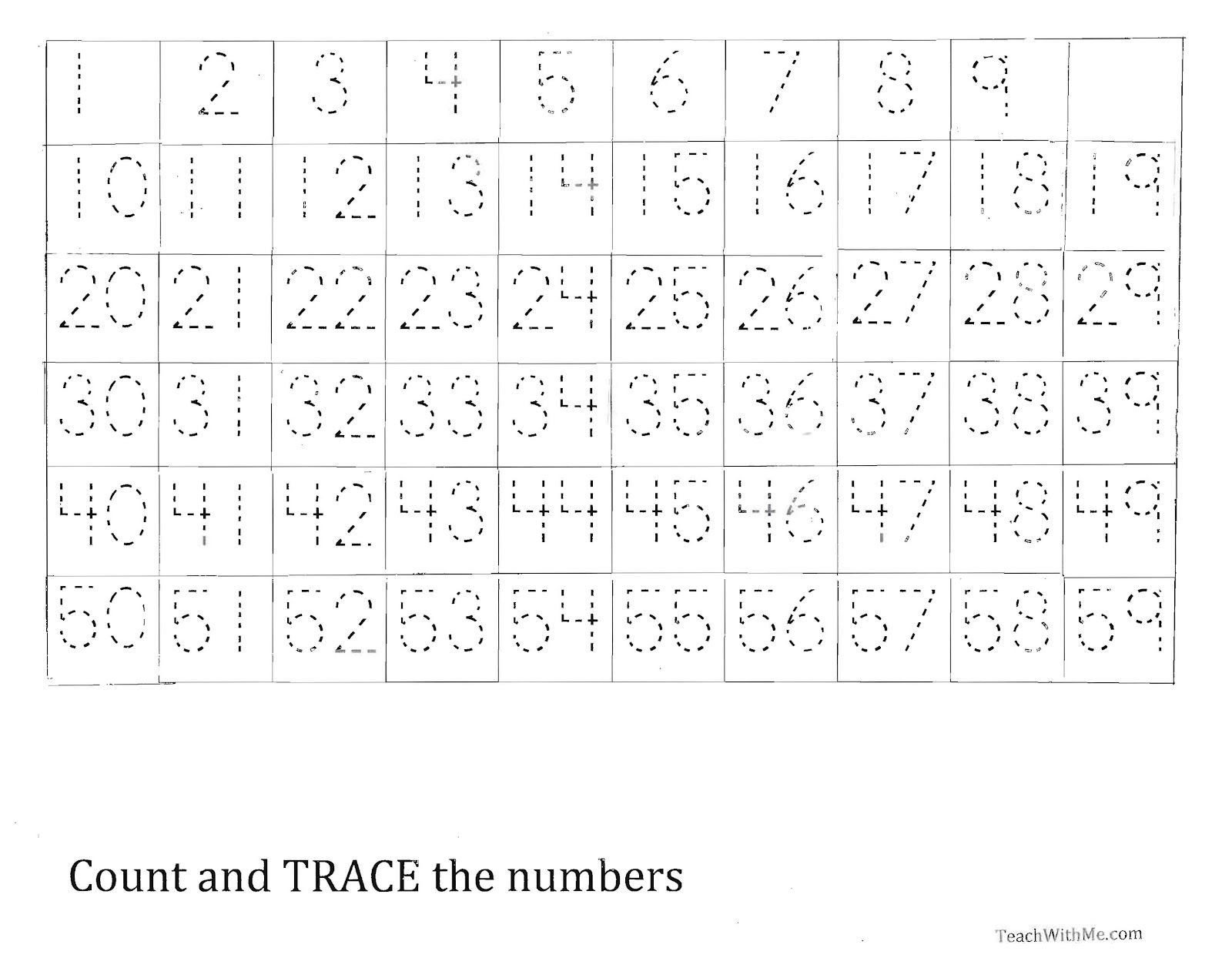 Numbers 1 50 Worksheets Trace the Number 1 59 Worksheet