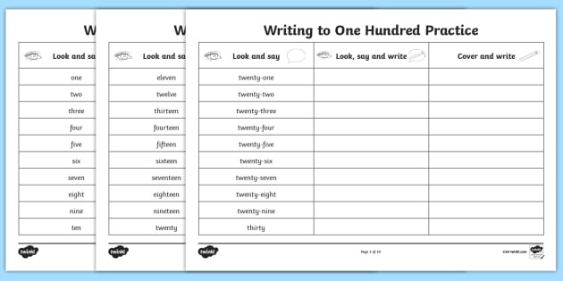 t l 4897 number words one to a hundred writing practice worksheets
