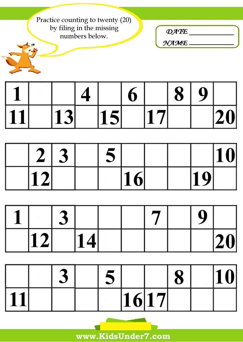 Numbers Worksheets 1 20 Kids Under 7 Fill In the Missing Numbers Worksheets