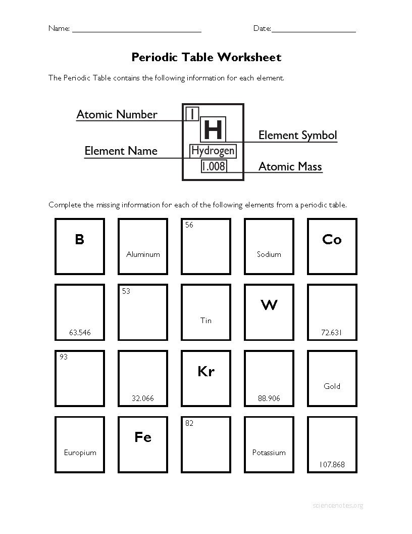Periodic Table Element Worksheet Periodic Table Worksheet