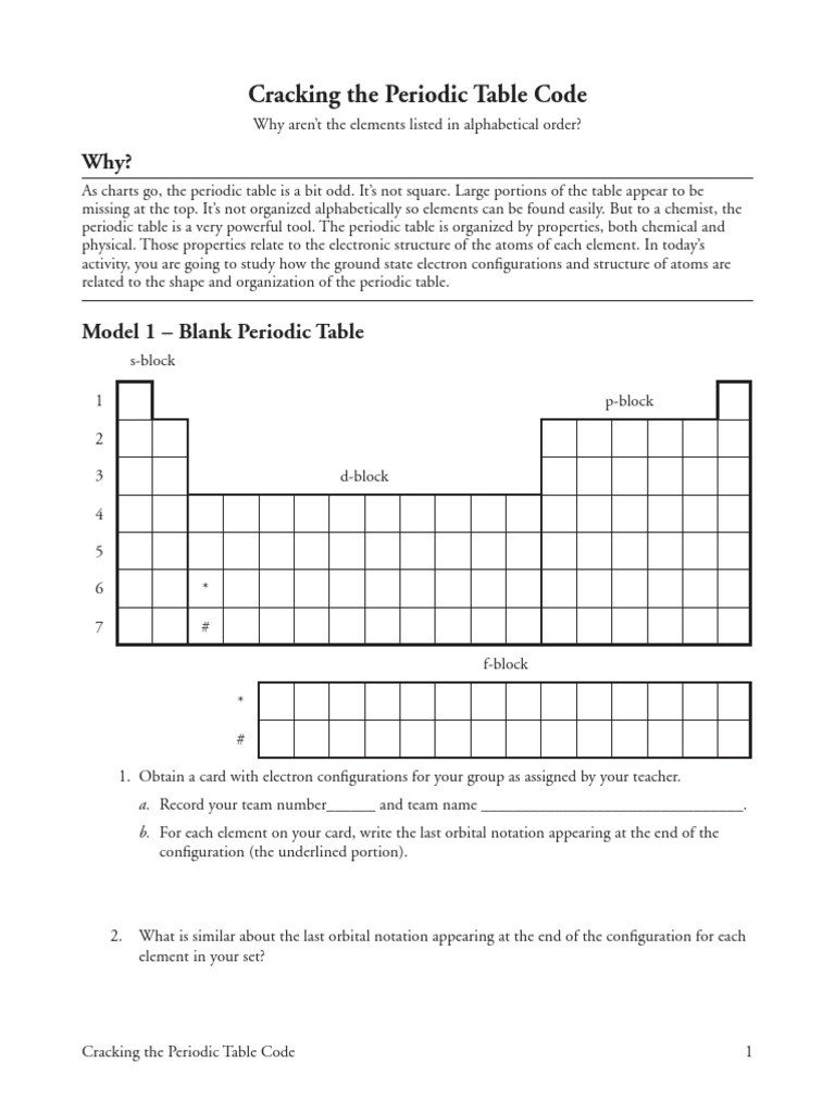 Periodic Table Fill In Worksheet 14 Cracking the Periodic Table Code S Pdf