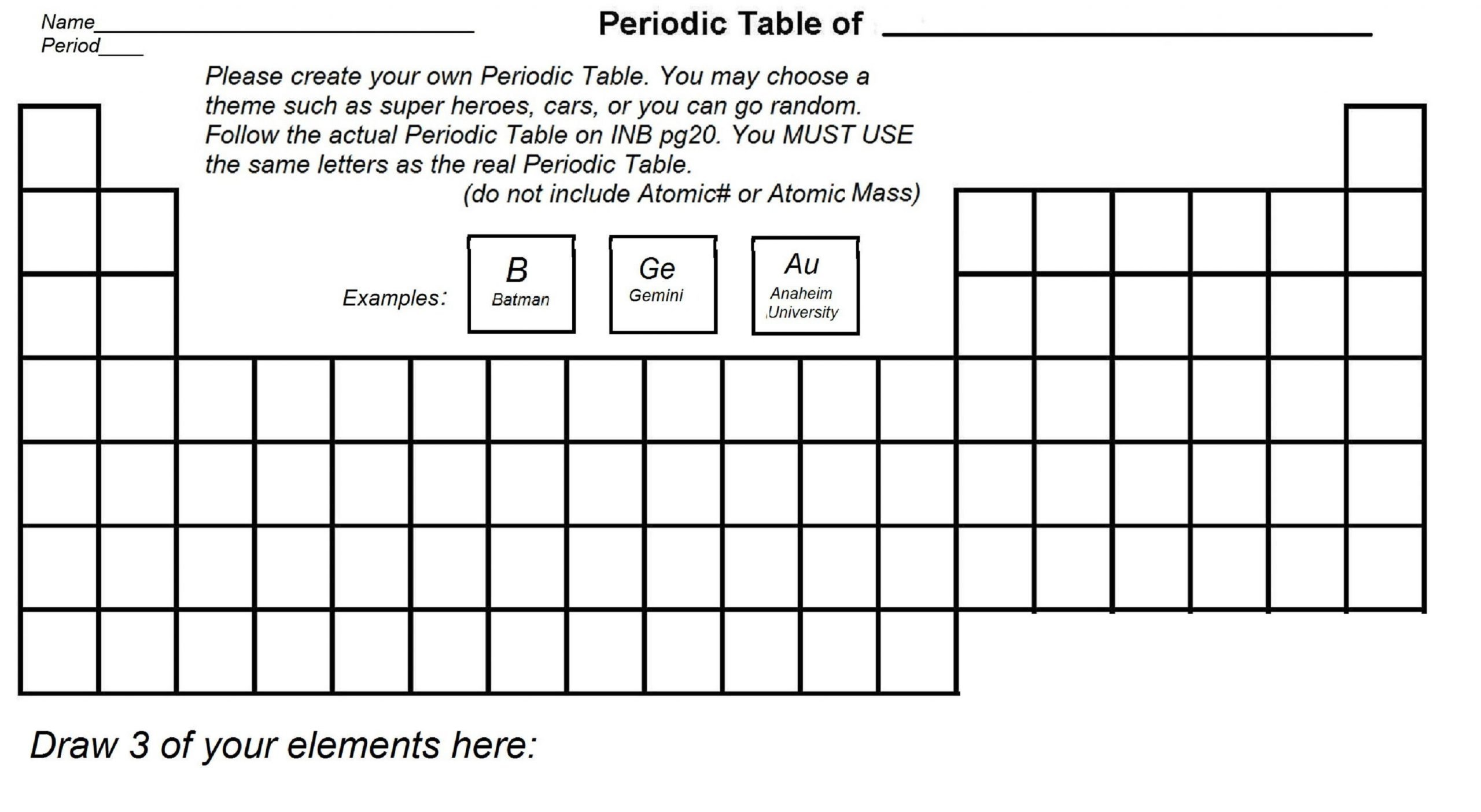 Periodic Table Fill In Worksheet Blank Periodic Table with Elements Blankperiodictable
