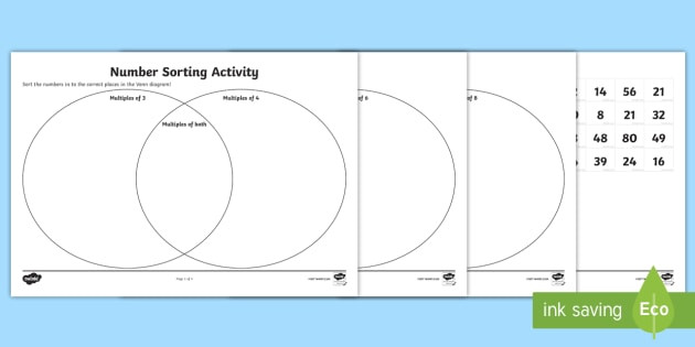 Real Numbers Venn Diagram Worksheet Venn Diagram Number Multiples sorting Activity