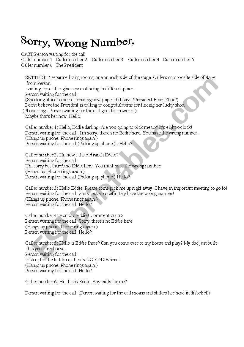 Sorry Wrong Number Worksheet English Worksheets A Play sorry Wrong Number
