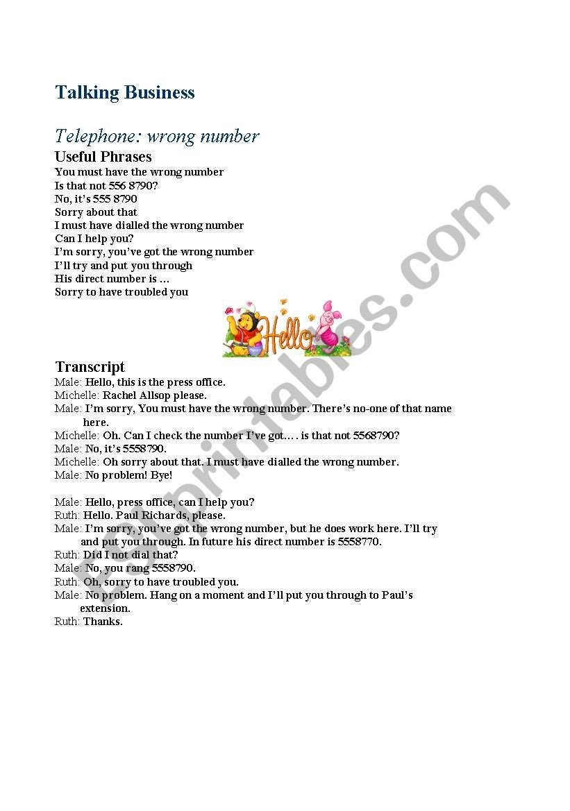 Sorry Wrong Number Worksheet English Worksheets Telephone Wrong Number
