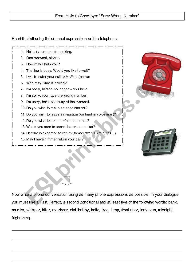 Sorry Wrong Number Worksheet Phone Switchboard Activity Esl Worksheet by Profm