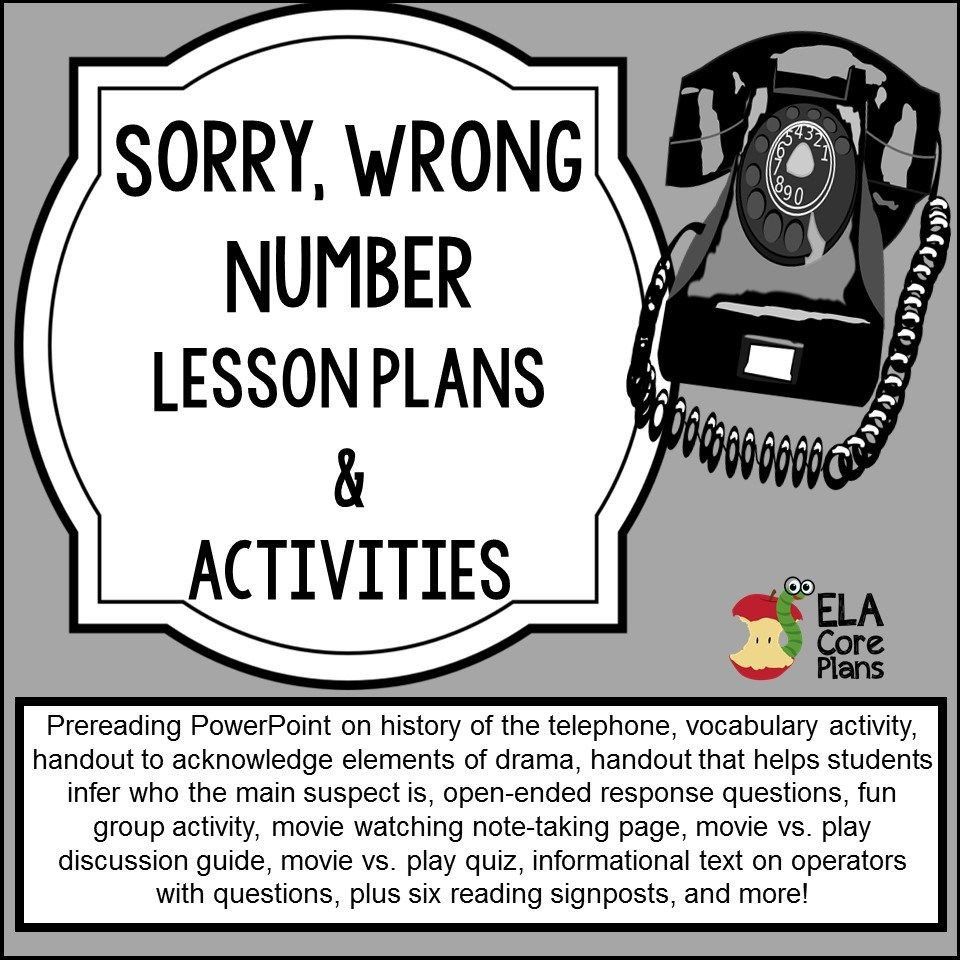 Sorry Wrong Number Worksheet sorry Wrong Number Powerpoint Lesson Plans Activities