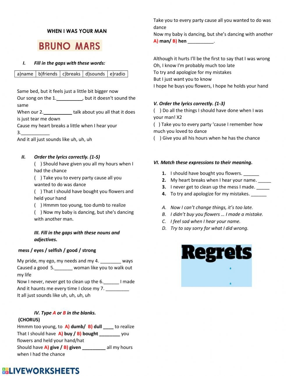 Sorry Wrong Number Worksheet when I Was Your Man Interactive Worksheet