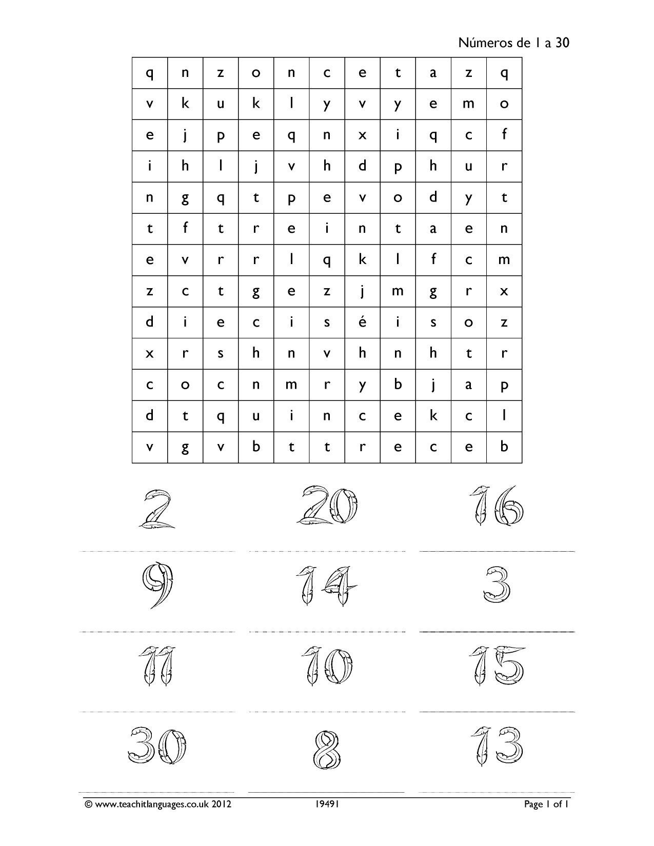 Spanish Numbers 1 30 Worksheet Ks3 Spanish Numbers Dates Ages
