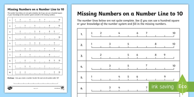 t he 134 new filling in the missing numbers on a number line to 10 worksheet