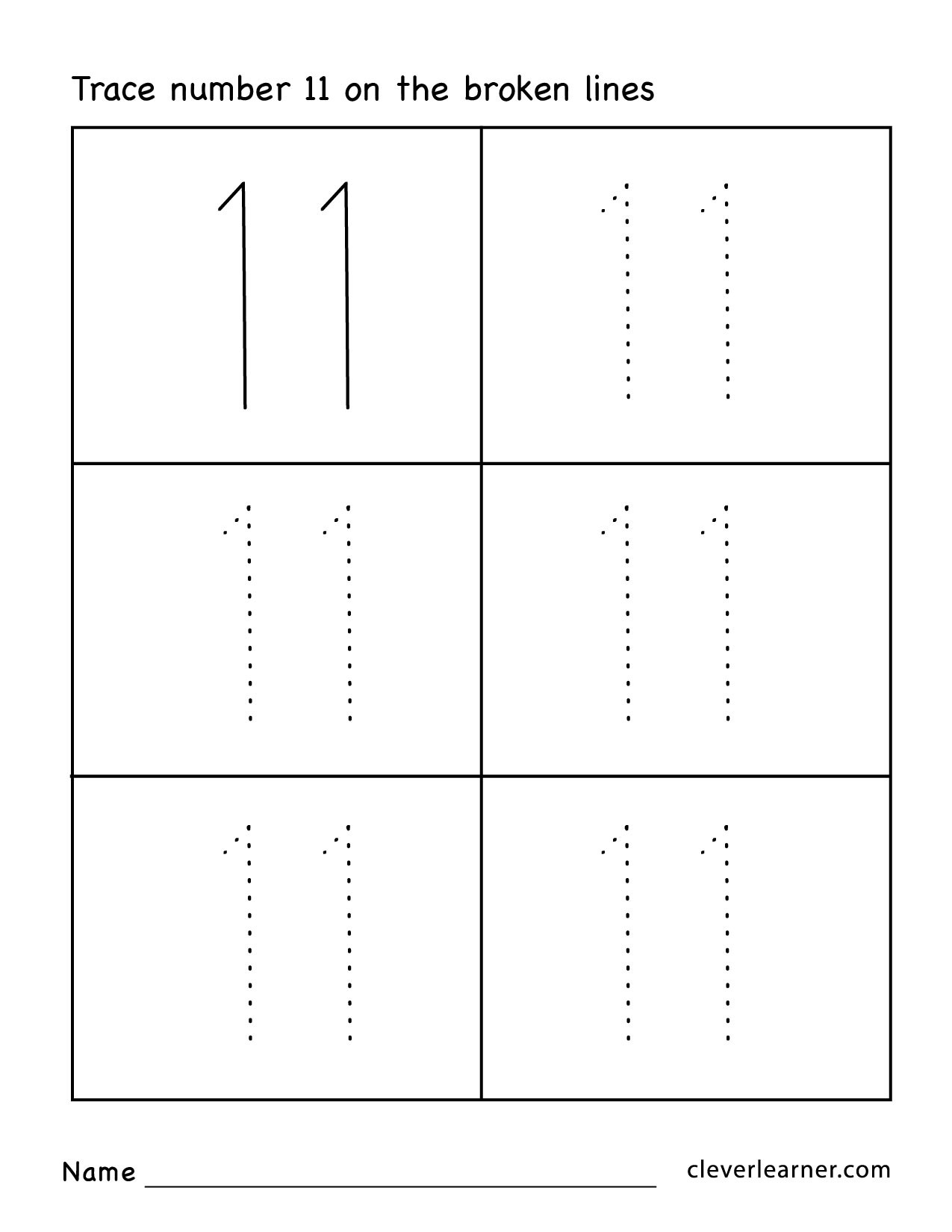number eleven 11 worksheets