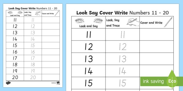 t t number formation 11 to 20 look trace and write activity sheet