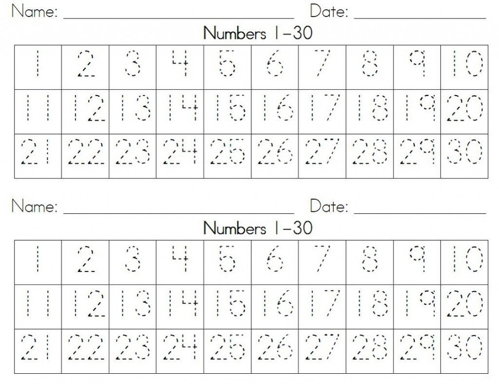 Tracing Numbers Worksheets 1 20 Number Worksheets 20 30
