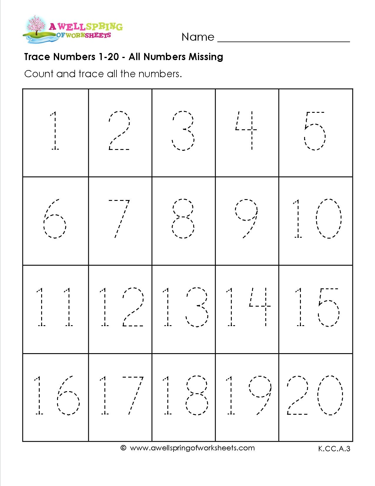 Tracing Numbers Worksheets 1 20 Practice Writing 1 20 Worksheets