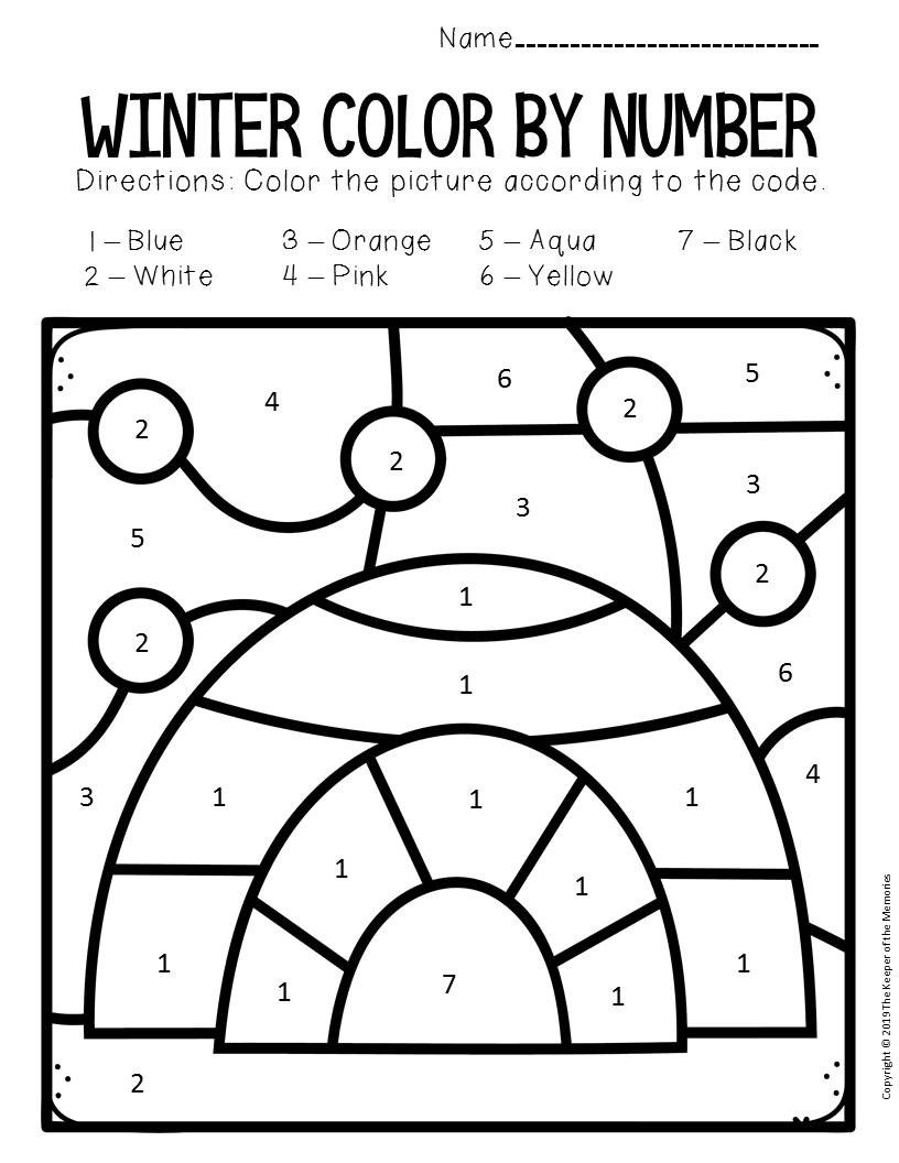 Winter Color by Number Worksheets Color by Number Winter Preschool Worksheets Igloo the