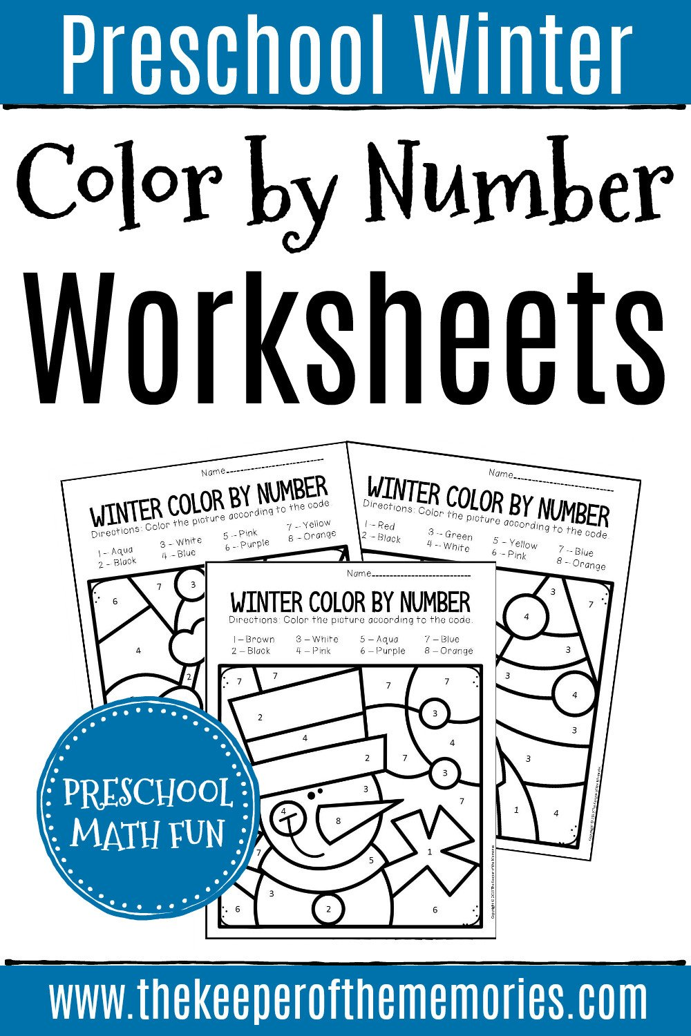 Winter Color by Number Worksheets Color by Number Winter Preschool Worksheets