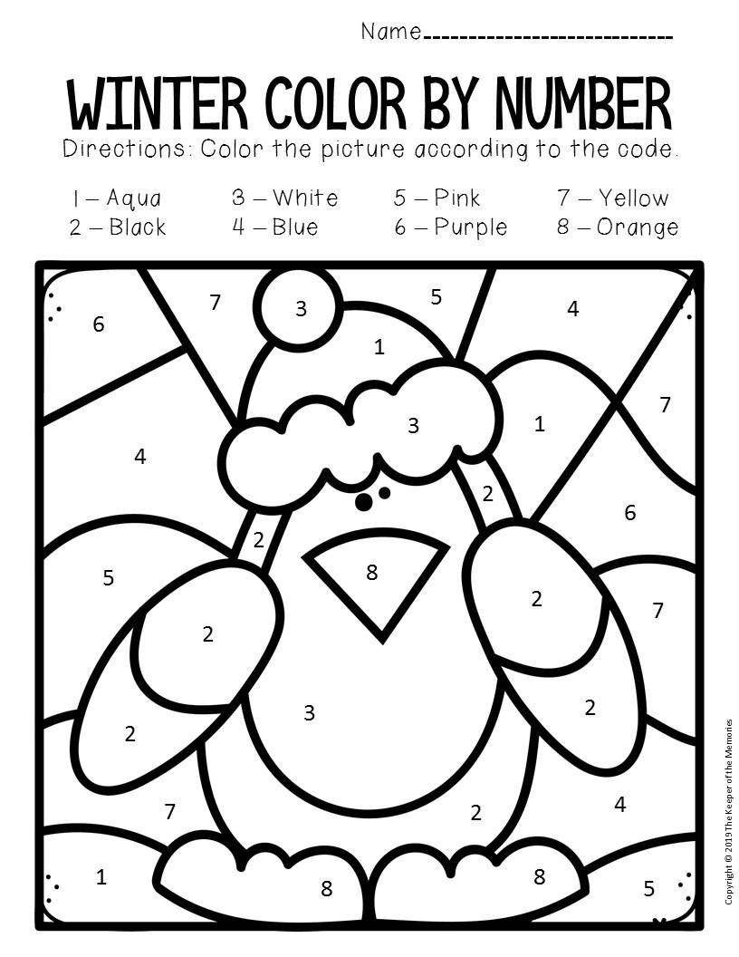 Winter Color by Number Worksheets Color by Number Winter Preschool Worksheets with Images