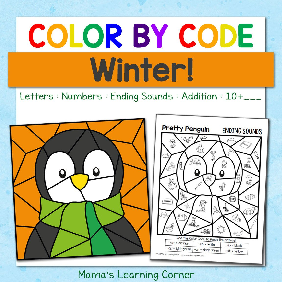 Winter Color by Number Worksheets Winter Color by Code Worksheets