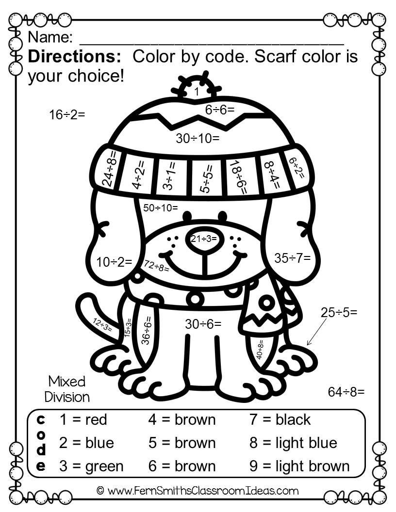 Winter Color by Number Worksheets Winter Color by Number Multiplication and Division Bundle