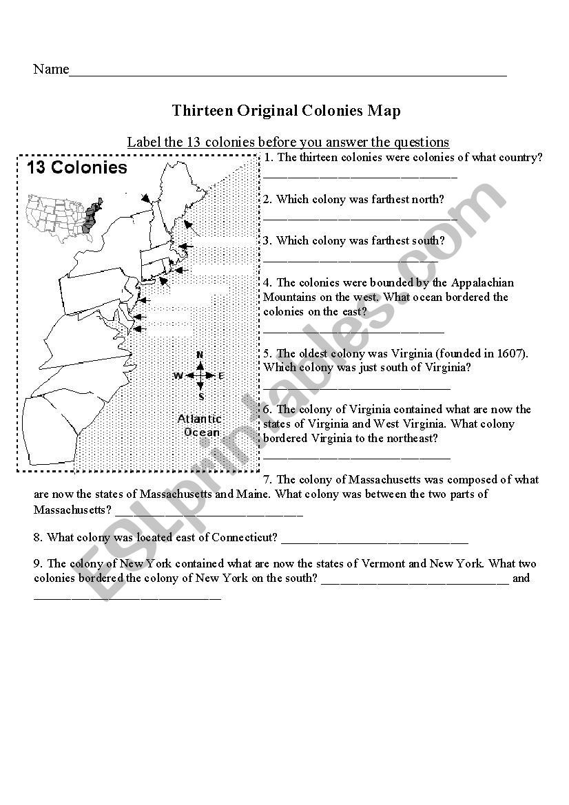 13 Colonies Free Printable Worksheets Label the 13 Colonies Esl Worksheet by Jswallia