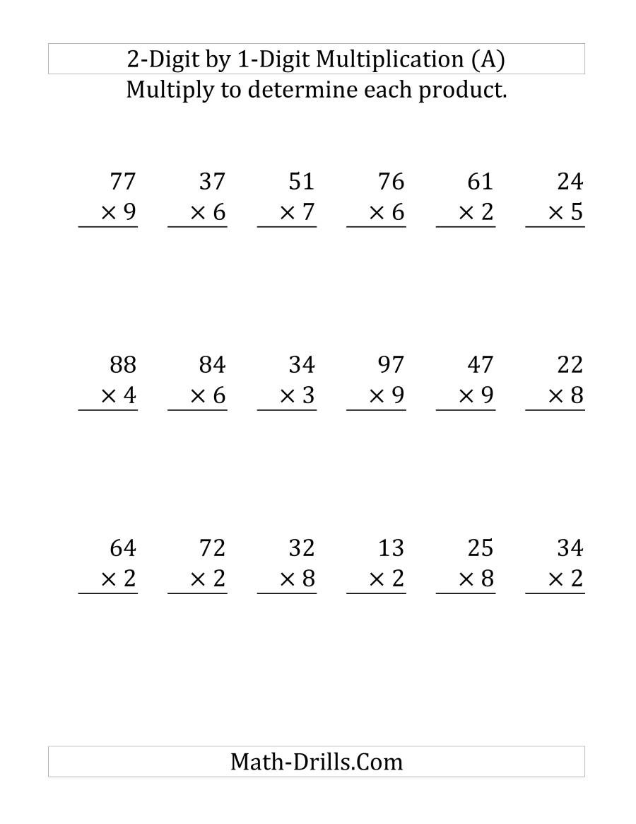 2 by 1 Multiplication Worksheets Multiplying A 2 Digit Number by A 1 Digit Number