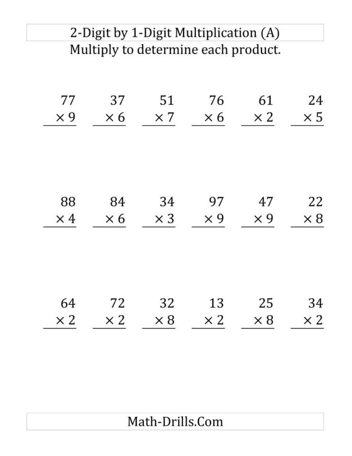 2 by 1 Multiplication Worksheets Multiplying Digit Number by Print and Multiplication